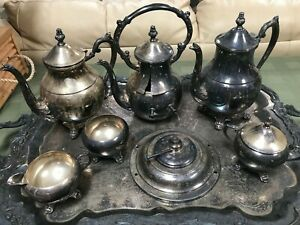 F B Rogers Silver Co 1883 Silver Plate 10 Piece Coffee Tea Set With Tray