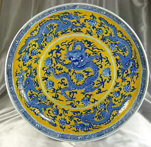 Chinese 19th C Yellow Plate Blue Dragon Charger Plate Signed Kangxi