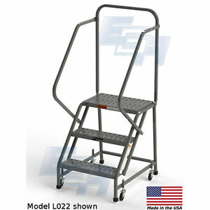Ega L004 Steel Industrial Rolling Ladder 3 step 16 Wide Perforated Gray 450
