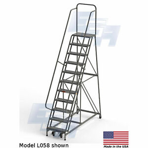 Ega L058 Steel Industrial Rolling Ladder 11 step 24 Wide Perforated Gray 450
