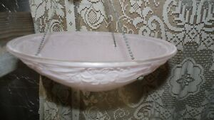 Vintage 30 S 40 S Pink Glass Art Deco Light Ceiling Fixture Floral Embossed