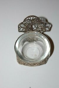 Antique Russian Filigree Silver Tea Bag Holder With Glass Insert Bowl