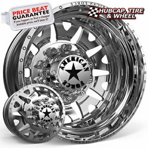 American Force Baus 94 Polished 24x8 25 Dually Wheel 10 Lug Wheel Rim Set Of 6