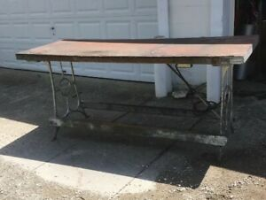 Vintage 7 Foot Wood Top Industrial Work Bench This Has Really Old Legs Table