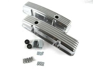 Sbc Chevy 350 383 Short Retro Style Finned Valve Cover Aluminum E41002p