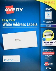 Avery 8160 White Address Label Inkjet Easy Peel Pop up Edge 1 X 2 5 8 Ave8160