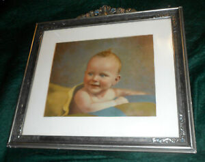 Antique 1930s Art Deco Frame With Original Baby Portrait Signed And Dated