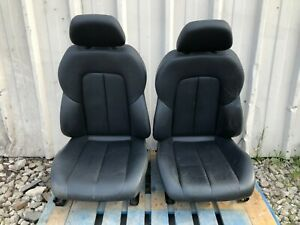 Mercedes Benz R170 Seats Perforated Black Leather Assembly Pair Oem