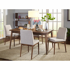 New Element Mid Century Dining Table Walnut And 4 Chairs Walnut And Gray