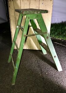 Vtg 2 Step Folding Wood Step Ladder Stool Primitive Orig Chippy Green Paint