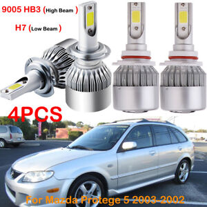 Power H7 9005 Hb3 Led Headlight Bulbs Lights Fit 2002 2003 Mazda Protege 5 4pack