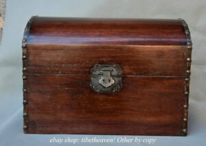 18 Old Chinese Huanghuali Wood Palace 2 Layer Chest Jewel Case Or Box