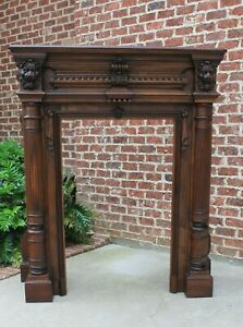 Large Antique Fireplace Mantel French Walnut Renaissance Revival Hearth 19th C
