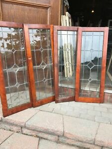 Sg 2964 Set Of Four Matching Antique Leaded Glass Beveled Book Case Doors