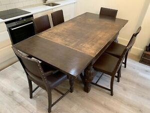 Harrods English Hand Carved Oak Dining Table And Chairs 1940 S Ww2 Chippendale