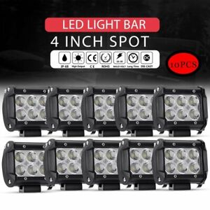 10x 4 Inch Led Work Lights Bar Pods Spot Beam Cube Off road Suv Atv Ute 4wd 40w