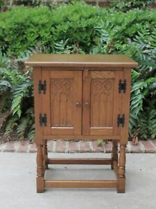 Petite Antique French End Table Nightstand Cabinet Gothic Revival Double Doors