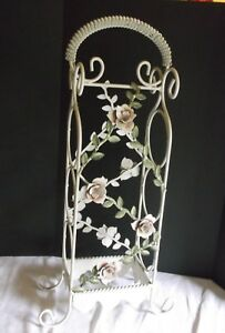 Vintage Shabby Pink Roses Tole Wine Bottle Rack French Country Cottage Chic