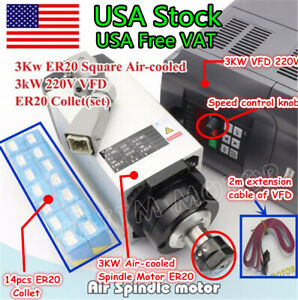 us Stock 3kw Spindle Air Cooled Motor Er20 hy Inverter 220v Vfd 14pcs Collet