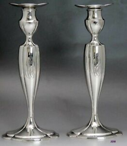 Fab Pair Antique American Sterling Silver Black Starr Frost Candlesticks