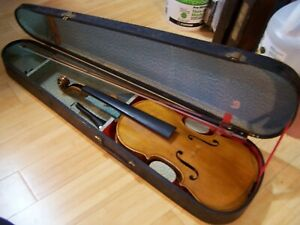 Antique Stradivarius Conservatory Violin Inlaid Perf 4 4 1900 Coffin Case Bow