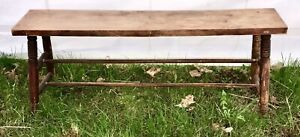 Old 1800s Primitive Pegged Oak Wooden Garden Farm Bench Stool Solid Aafa Antique