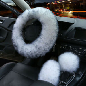 Universal 3pcs Fur Wool Furry Fluffy Thick Car Steering Wheel Cover Black White