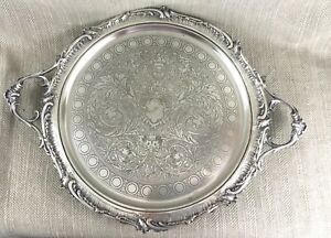 Very Large 19th C Victorian Silver Plated Butlers Tray Antique French