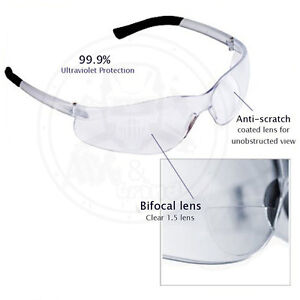 3 Pack Bifocal Safety Glasses Clear 1 5 Diopter Reader Safety Glasses