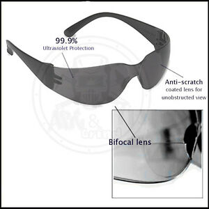 12 Pack Bifocal Safety Glasses Dark 2 5 Diopter Lens Reader Glasses ehb20s25