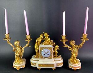 19th C Dore Bronze And Marble Clock Set