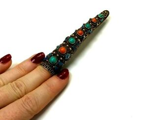Awesome Sterling Silver Gilt Coral And Turquoise Enamel Filigree Finger Tip Pin