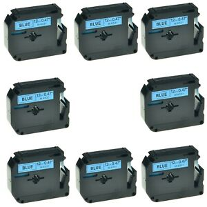 8pk Mk531 M k531 Black On Blue Label Tape For Brother P touch Pt 80sccp 1 2