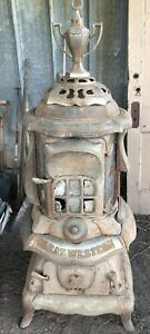 Great Western Cast Iron Wood Burning Parlor Stove Late 1800 S