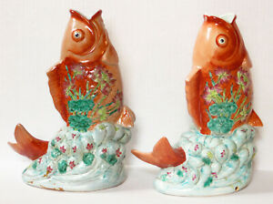Vintage Pair Chinese Porcelain Koi Fish Figurine Statues
