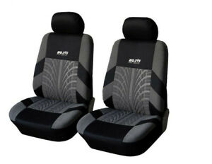 Embroidered Tread Car Driver Passenger Seat Covers Black Gray Slipcover Usa 2x
