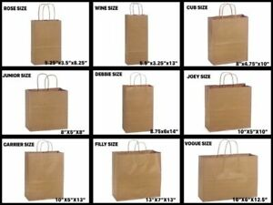 Retail Shopping Kraft Gift Bags Brown Paper With Handles 13x7x17