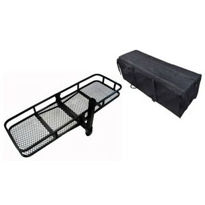 Hitch Mounted Folding Cargo Carrier With Waterproof Bag Black 153x53x23cm 500lbs