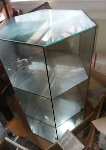 2 Ft Tall Glass Mirror Display Case Tower New Store Hardware Hexagon Jewelry Etc