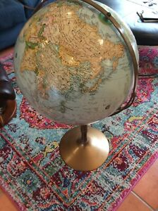 Replogle 16 Classic Series World Globe W Raised Topography Wood Floor Stand