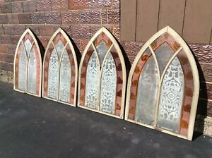 4 Same Antique Gothic Wood Framed Etched Stain Glass Church Windows Good