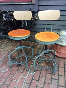 2 Same Vintage Toledo Industrial Drafting Stools W Backs Adjust From 19 Good