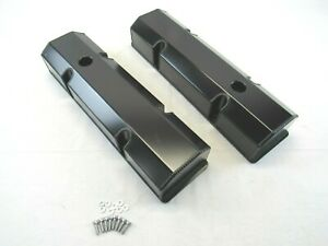 Small Block Chevy Sbc 350 Fabricated Tall Valve Covers Black Anodized Bpe 2303ba