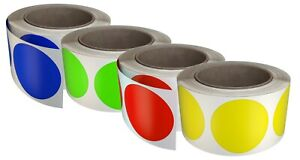 Rounded Marking 50mm Labels Permanent Adhesive Dots 2 In Roll Circles 2400 Pack