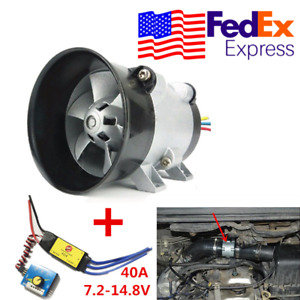 12v Car Electric Turbo Supercharger Kit Air Intake Hp Boost Fan W Esc From Usa