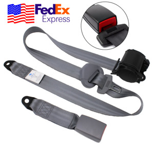 Gray 3 Point Car Front Seat Belt Buckle Automatic Retractable Safety Straps Usa