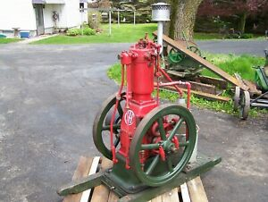 1907 Ihc 3hp Vertical Famous Screen Cooled Hit Miss Gas Engine On Original Skids