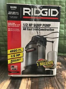 Ridgid 1 2 Hp Cast Iron Submersible Sump Pump 500rs