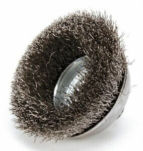 Weiler 3 1 2 Crimped Wire Cup Brush Arbor Hole Mounting 0 014 Wire Dia 7 8