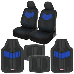 Pu Leather Car Seat Cover Set And Heavy Duty Rubber Floor Mats Blue black